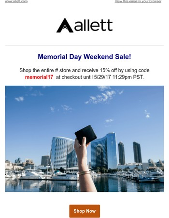 Memorial Day Weekend Sale - 15% off!