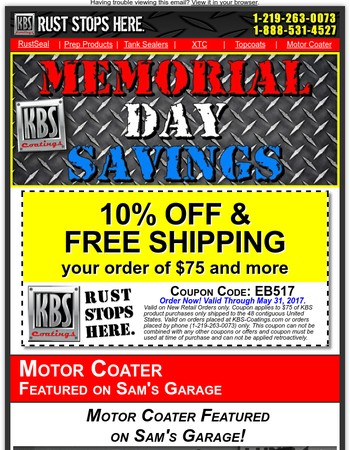Memorial Day Weekend Savings