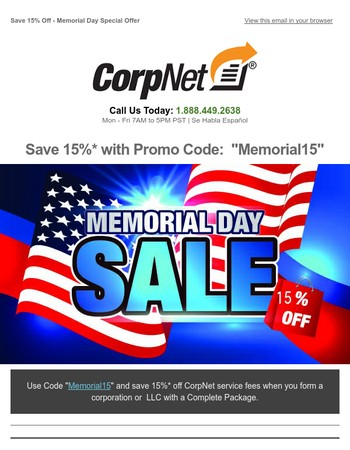 15% Off - Memorial Day Savings