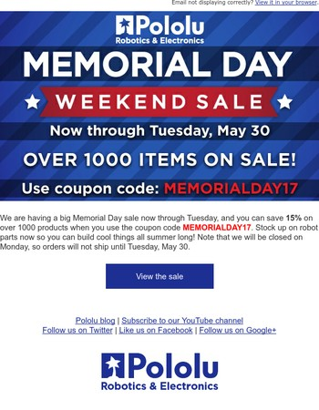 Pololu Memorial Day Sale now through Tuesday, May 30