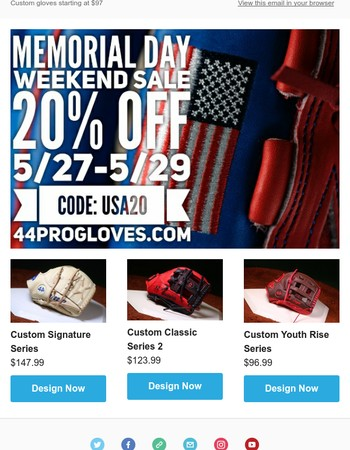 ⚾Memorial Day Weekend Custom Baseball & Softball Glove Sale! ⚾