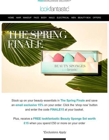 Spring Finale: 15% off & your FREE Beauty Sponge Set
