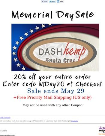 Memorial Day Weekend Sale at Dash Hemp
