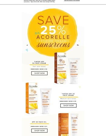 Last chance to save 25% on organic sunscreen!