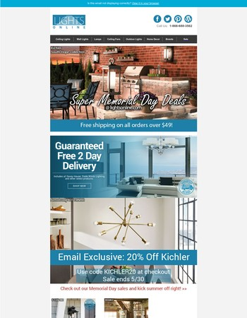 Exclusive Memorial Day Savings: 20% off Kichler, 2-Day Delivery and More!