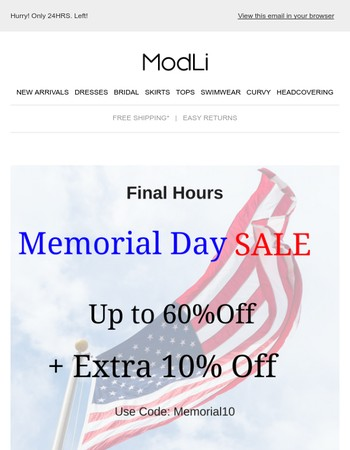 Final Hours. Up to 60% OFF + Extra 10% OFF. Don't Miss This>>