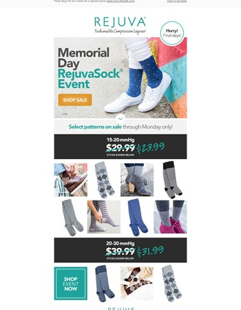 Ends soon! 20% off select RejuvaSock patterns.