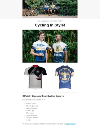 Go Biking In Style | Check out our beer Cycling Jerseys