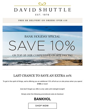 Last Day to Get An Extra 10% Off!