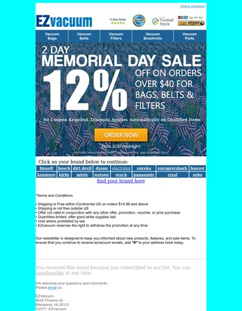 Memorial Day Savings + Free Shipping on Vacuum Bags, Belts and Filters