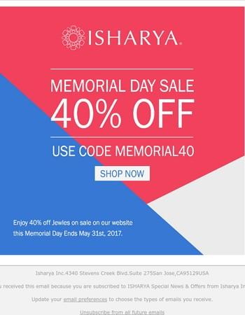 [Memorial Day Sale] Enjoy 40% off Jewels on Sale