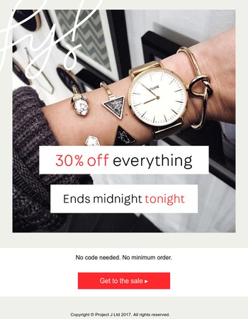 30% Off Sale Ends Midnight Tonight
