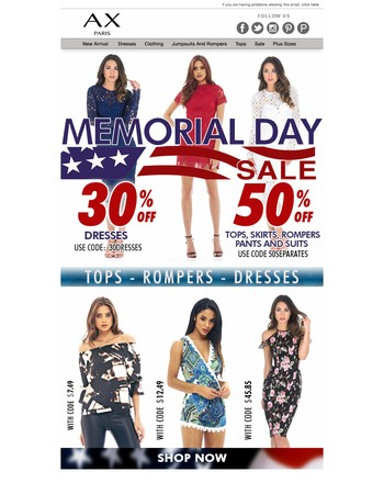 Memorial Day Sale End Tomorrow- Up to 50% OFF SALE