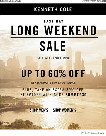 FINAL HOURS for long weekend savings!