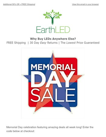 Memorial Day Savings: 50% Off + Free Shipping!