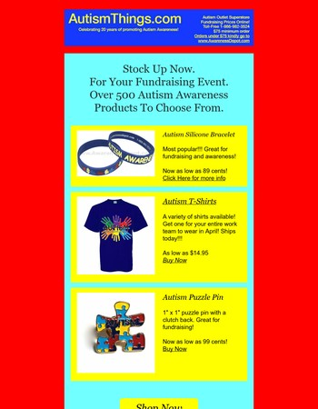Autism Awareness Fundraising Products For Your Event