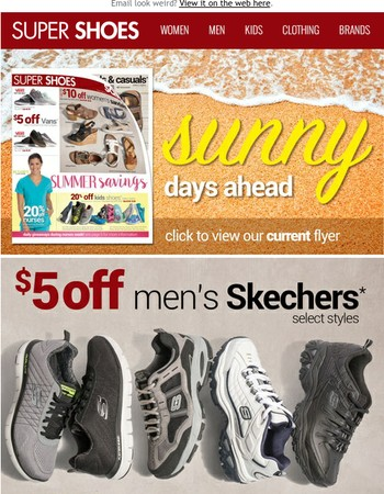 $5 OFF Men's Skechers | View Our Sales Flyer & Shop for Sunny Summer Days!