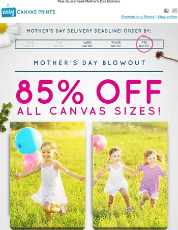 3 Days Left to Save 85% & Ship in Time for Mother's Day!