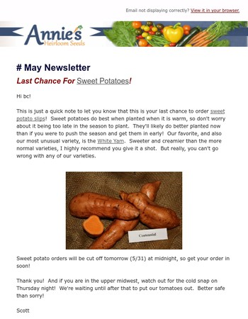Annie's Heirloom Seeds May Newsletter - Last Chance For Sweet Potatoes!