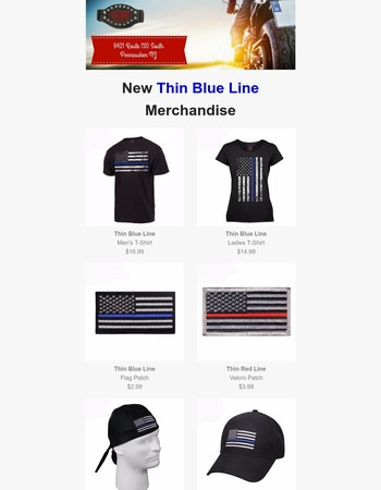 New! Thin Blue Line Merchandise - Patches, Pins, T-Shirts & More
