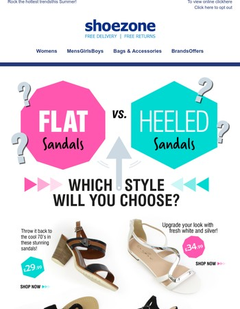 Mary, flat sandals vs. heeled sandals!