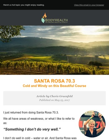 Cherie Gruenfeld talks about a very cold Santa Rosa 70.3