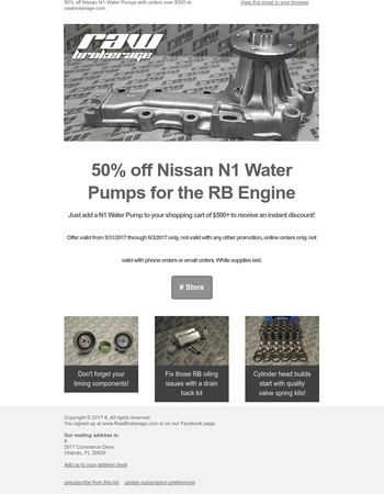 50% off Nissan N1 Water Pumps at Raw Brokerage
