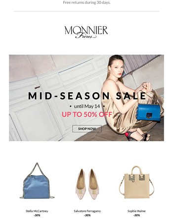 Mid-Season Sale: Enjoy Up To 50 Percent Off!
