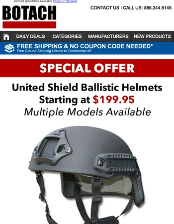 Special Offer - United Shield Ballistic Helmets