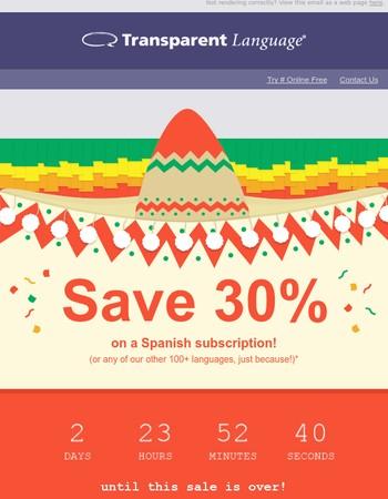 [FLASH SALE] Save 30% on all Transparent Language Online subscriptions!