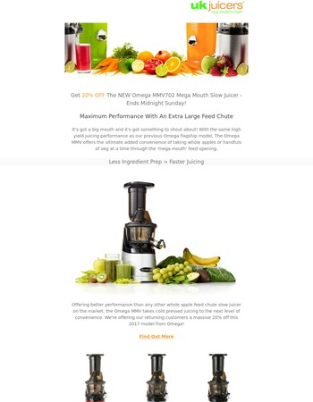 20% Off The Omega MMV702 Juicer - Ends Midnight Tonight!