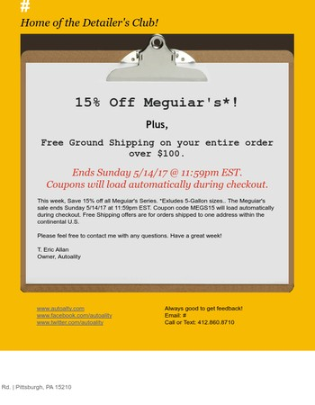 Meguiar's Sale!