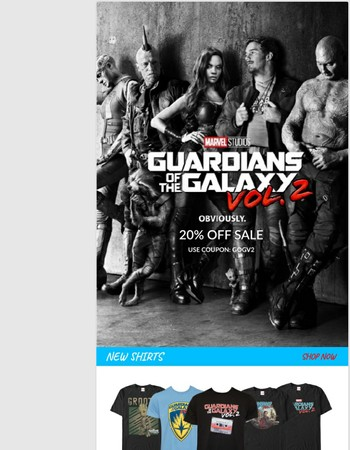 Guardians of The Galaxy Vol 2 - 20% OFF