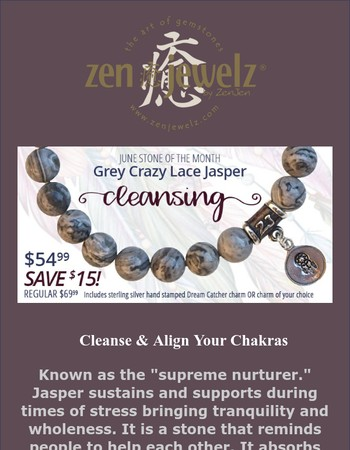 Grey Crazy Lace Jasper - June Stone of The Month