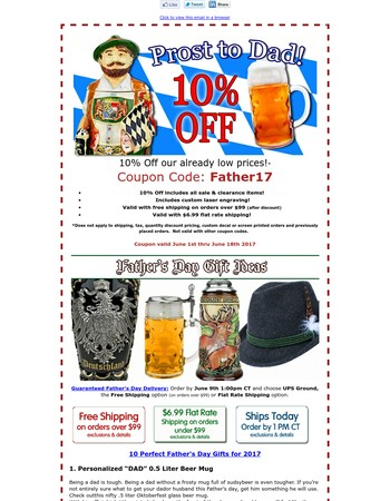 Prost to Dad 10% Off!