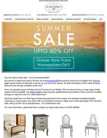 Summer SALE Online Now - From Homesdirect365!!!