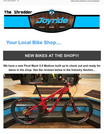 Joyride Cycles Customer Newsletter (NEW BIKES!!)