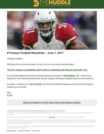 The Huddle Fantasy Football Newsletter - June 1, 2017