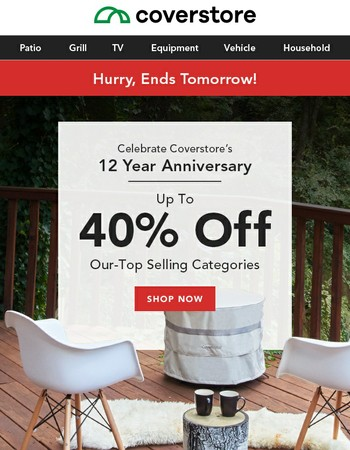 Up to 40% OFF Anniversary Sale ends tomorrow!