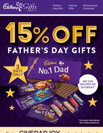 Father's Day is this week!  15% OFF