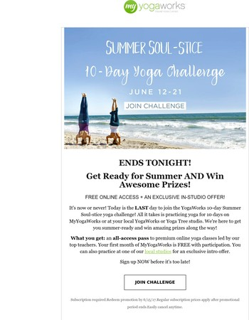 LAST CHANCE to Join Our Yoga Challenge!