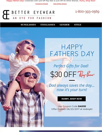 We're NOT kidding! $30 off Ray Ban gifts for dad