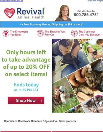 Ending Today – Pet Appreciation Sale