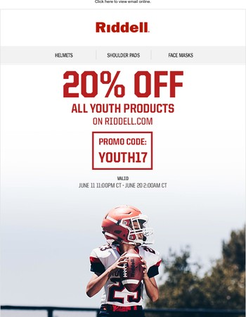 Riddell 20% Off All Youth Product Sale!