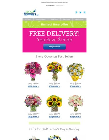 Save $14.99 with FREE hand delivered bouquets