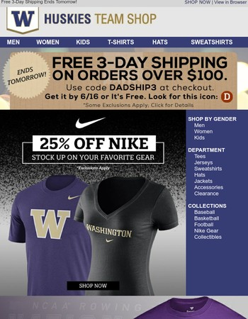 Stock Up on Nike Gear w/ 25% Off + Free 3-Day Shipping