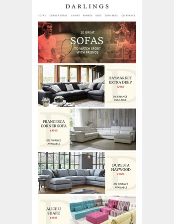 Wimbledon, The Lions...10 sofas for watching sport with friends