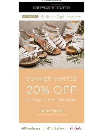 It's no lie ... Baretraps & Latigo Summer Whites are 20% off!