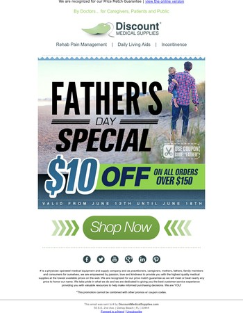 $10 Off, A Guaranteed Win on Father's Day
