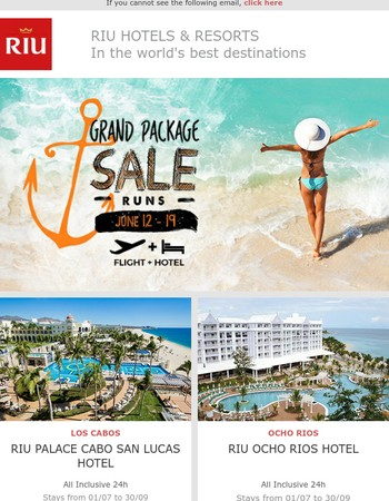 Grand Package Sale: Only this week! Flight+Hotel deals in the best destinations